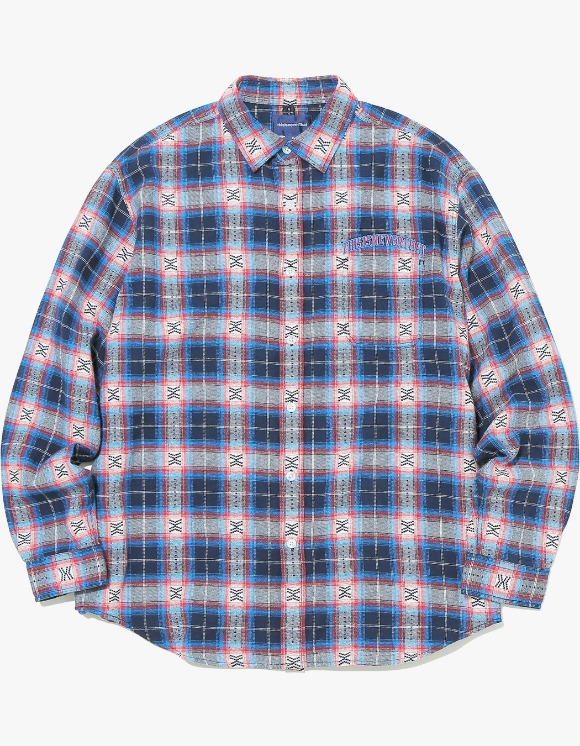 thisisneverthat ARC-Logo African Check Shirt - Blue | HEIGHTS. | International Store