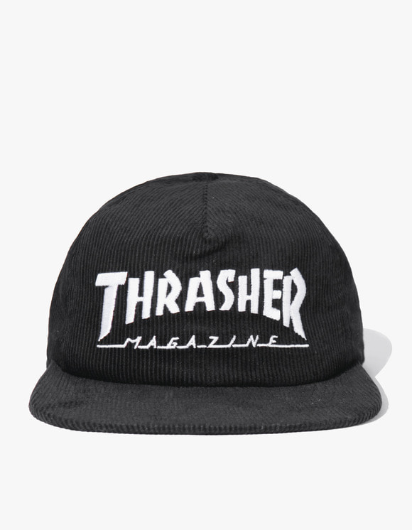 Thrasher Magazine Logo Corduroy Snapback - Black | HEIGHTS. | International Store