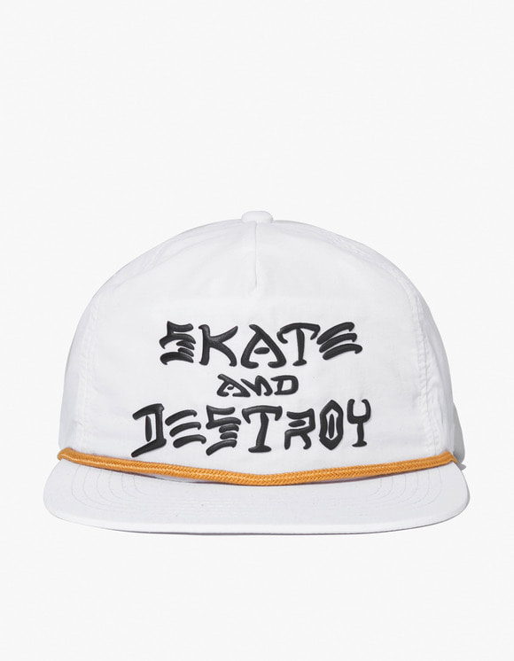 Thrasher Skate & Destroy Puff Ink Snapback - White | HEIGHTS. | International Store