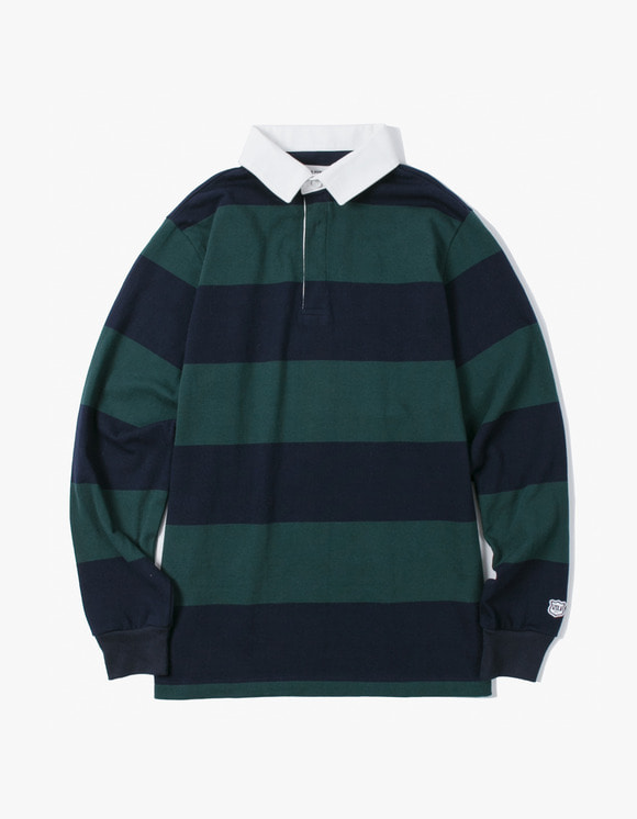 IZOLA NYC Stripe Rugby Tee - Green/Navy | HEIGHTS. | International Store