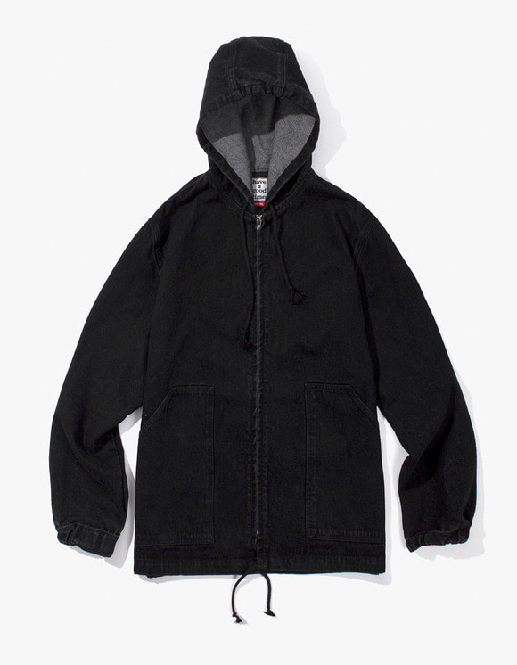 have a good time Zip-up Poncho Jacket - Black Denim | HEIGHTS. | International Store