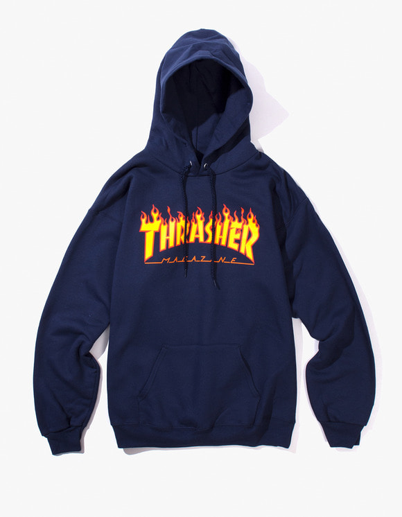 Thrasher Flame Logo Hood - Navy | HEIGHTS. | International Store