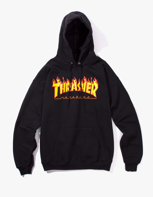 Thrasher Flame Logo Hood - Black | HEIGHTS. | International Store