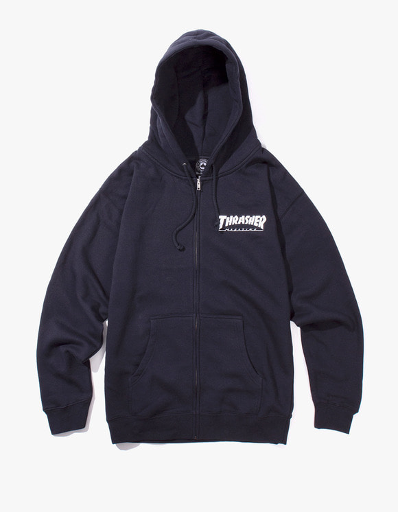 Thrasher THRASHER Logo Zip Hood - Navy | HEIGHTS. | International Store