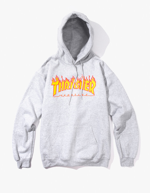 Thrasher Flame Logo Hood - Grey | HEIGHTS. | International Store