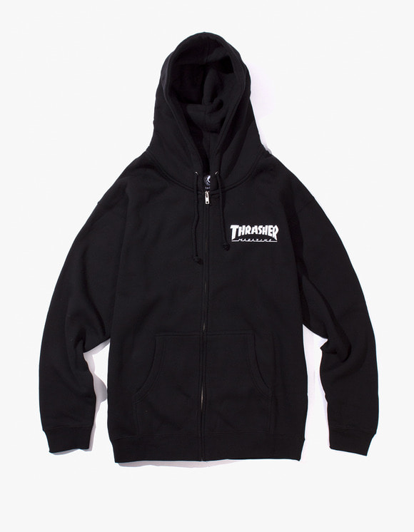 Thrasher THRASHER Logo Zip Hood - Black | HEIGHTS. | International Store