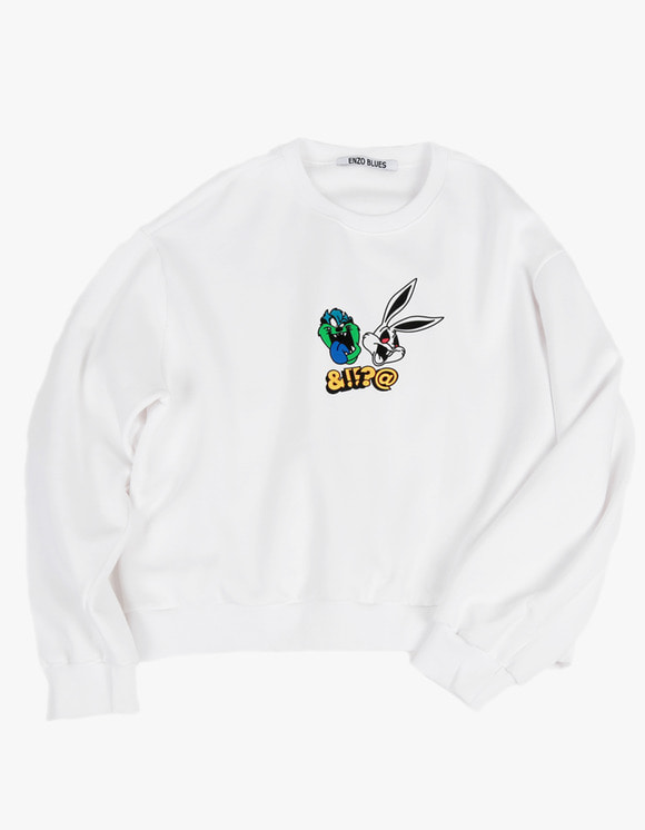 ENZO BLUES Bootleg Print Sweatshirt - White | HEIGHTS. | International Store