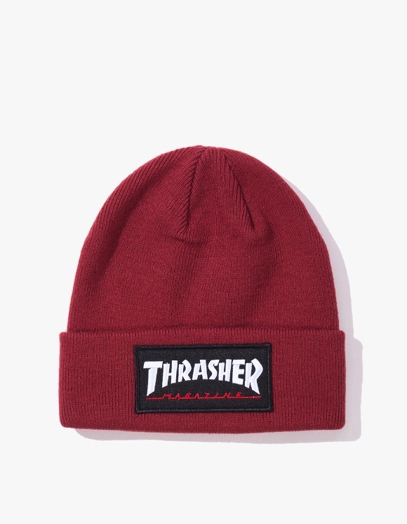 Thrasher Logo Patch Beanie - Maroon | HEIGHTS. | International Store