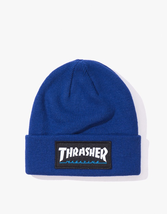 Thrasher Logo Patch Beanie - Navy Blue | HEIGHTS. | International Store