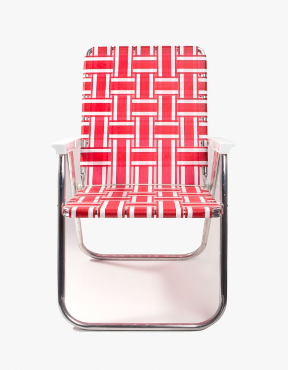 Lawn Chair Deluxe Red and White with White Arms | HEIGHTS. | International Store