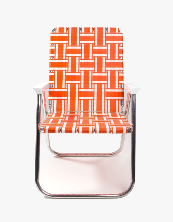 Lawn Chair Deluxe Orange and White with White Arms | HEIGHTS. | International Store