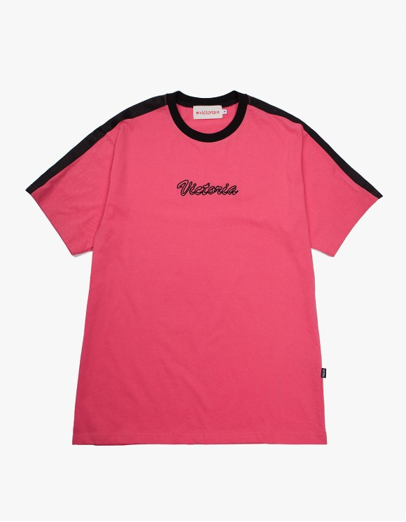 Victoria Hong Kong Cursive Ringer S/S Tee - Coral | HEIGHTS. | International Store