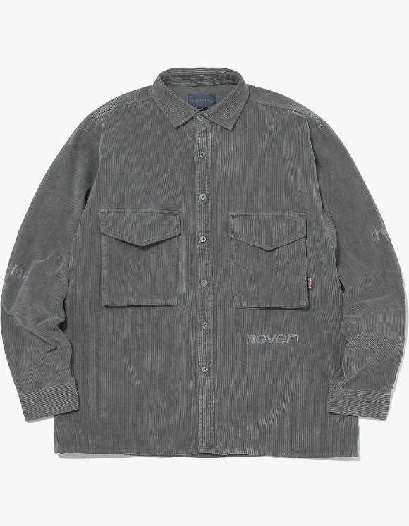 thisisneverthat SP-Logo Corduroy Shirt - Charcoal | HEIGHTS. | International Store