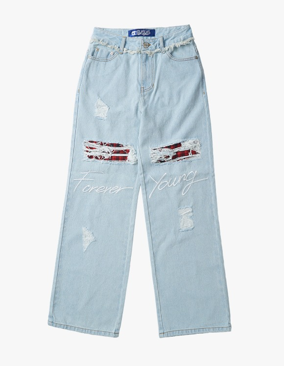 eyeye Foreveryoung Embroid Check Denim Pants - L.Blue | HEIGHTS. | International Store