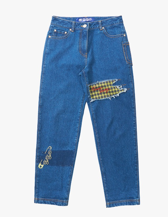 eyeye Check Patched Embroidery Denim - Blue | HEIGHTS. | International Store