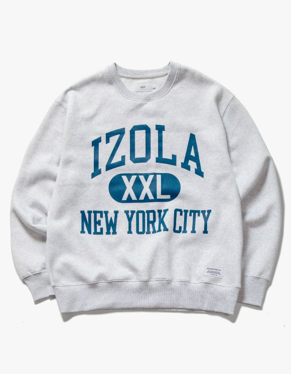 IZOLA NYC Big Logo Crewneck - Ash Grey | HEIGHTS. | International Store