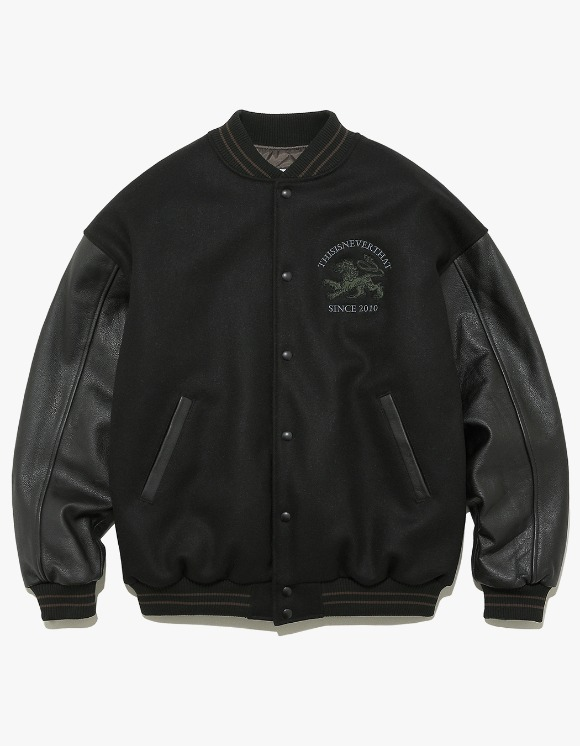 thisisneverthat LION 2010 Varsity Jacket - Black | HEIGHTS. | International Store