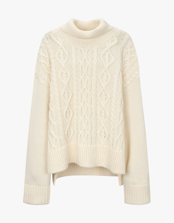 Dessert Turtleneck Twisted Knit - Ivory | HEIGHTS. | International Store