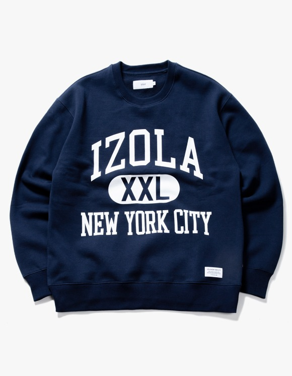 IZOLA NYC Big Logo Crewneck - Navy | HEIGHTS. | International Store