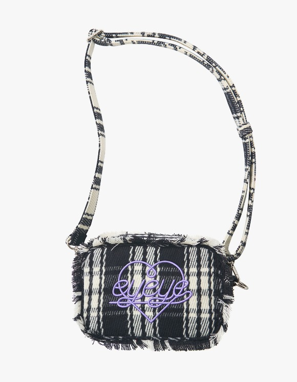 eyeye Check Combination Fringe Pouch Bag - Black | HEIGHTS. | International Store
