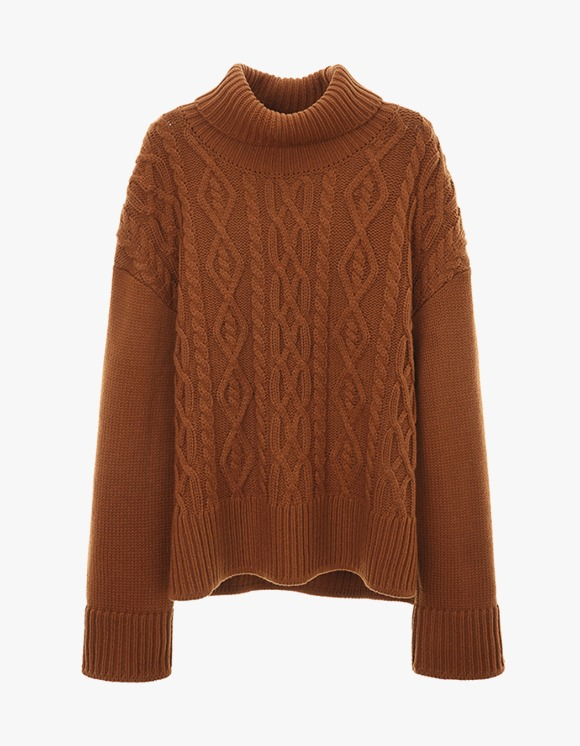 Dessert Turtleneck Twisted Knit - Brown | HEIGHTS. | International Store