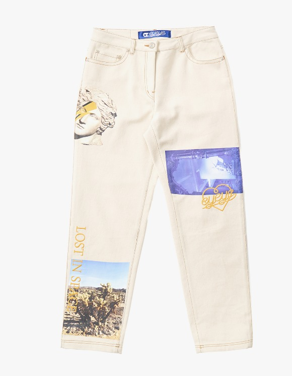 eyeye Digital Printed Denim Pants - Ivory | HEIGHTS. | International Store