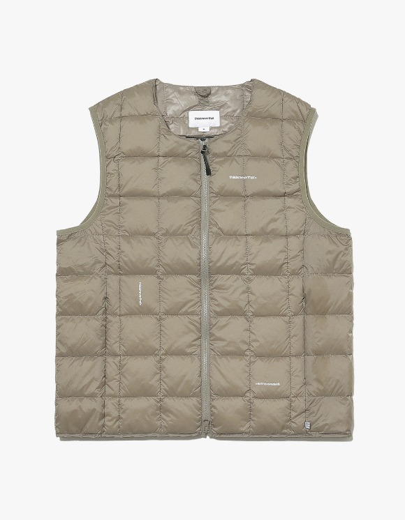 thisisneverthat TNT X TAION Crew Neck W-ZIP Down Vest - Khaki | HEIGHTS. | International Store