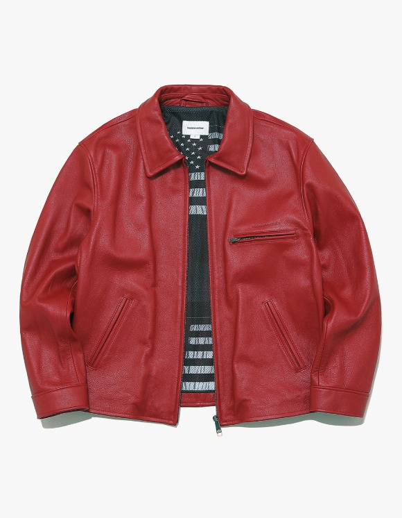 thisisneverthat Leather Motorcycle Jacket - Red | HEIGHTS. | International Store