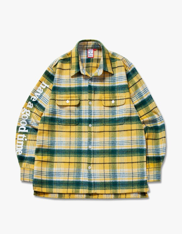 have a good time Side Logo Checked Shirts - Yellow | HEIGHTS. | International Store