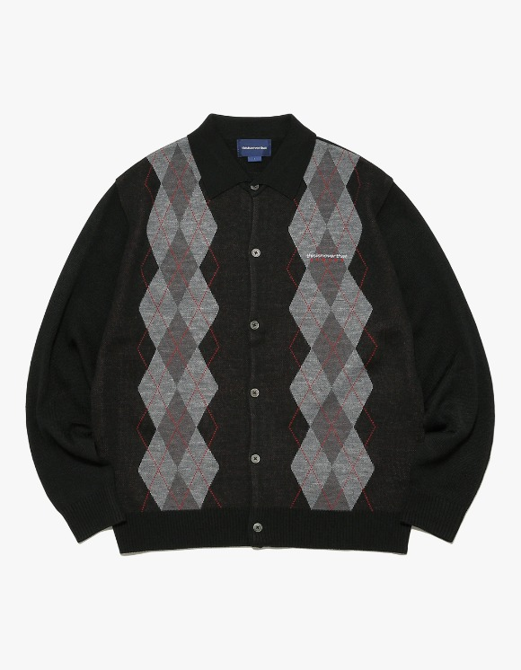 thisisneverthat Argyle Shirt Cardigan - Black | HEIGHTS. | International Store