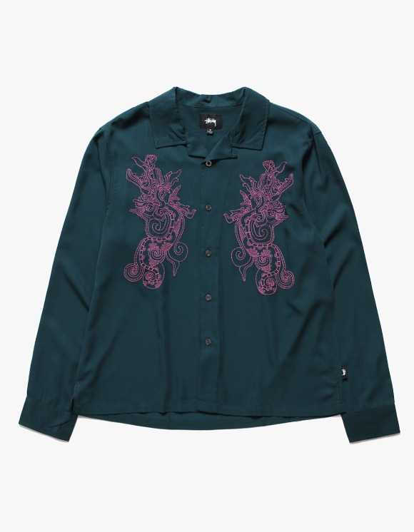 Stussy EMB. Dragon LS Shirt - Pine | HEIGHTS. | International Store
