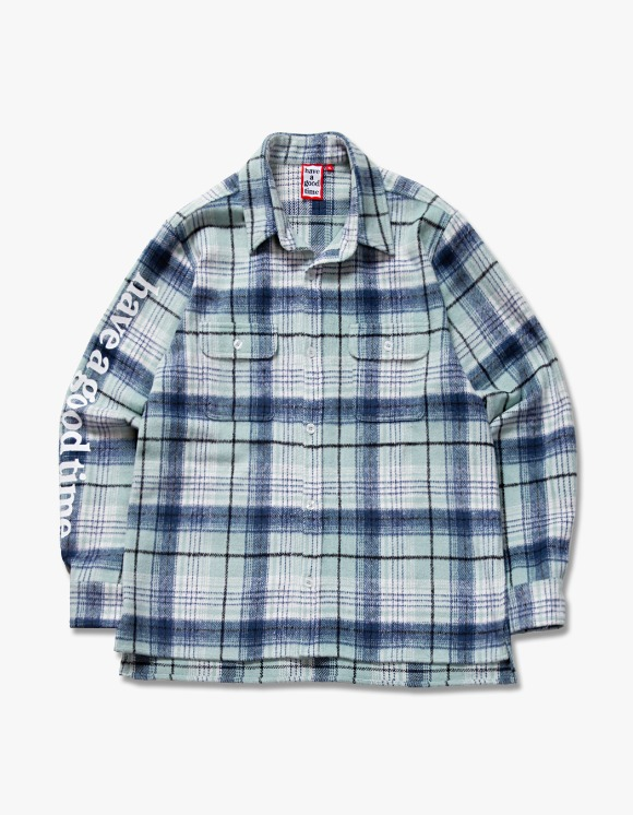 have a good time Side Logo Checked Shirts - Green | HEIGHTS. | International Store