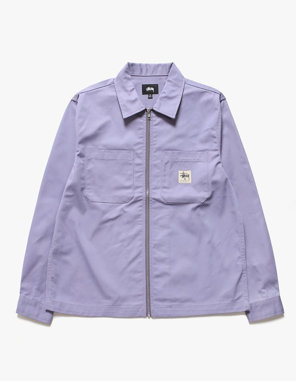 Stussy Zip-up Work LS Shirt - Lavender | HEIGHTS. | International Store