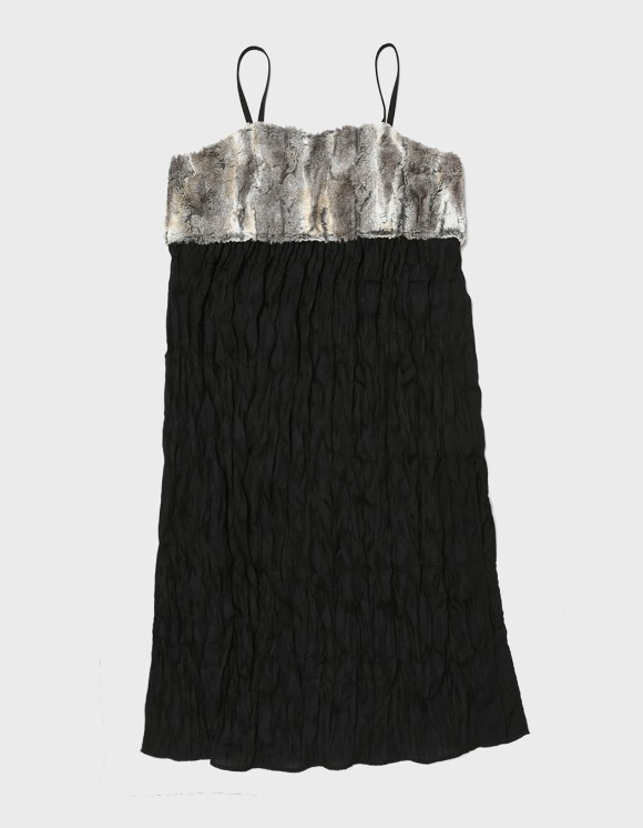 s/e/o Fur Layered Dress - Black | HEIGHTS. | International Store