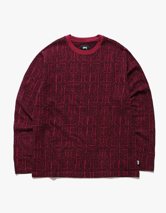 Stussy Bali LS Crew - Maroon | HEIGHTS. | International Store