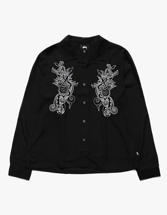 Stussy EMB. Dragon LS Shirt - Black | HEIGHTS. | International Store