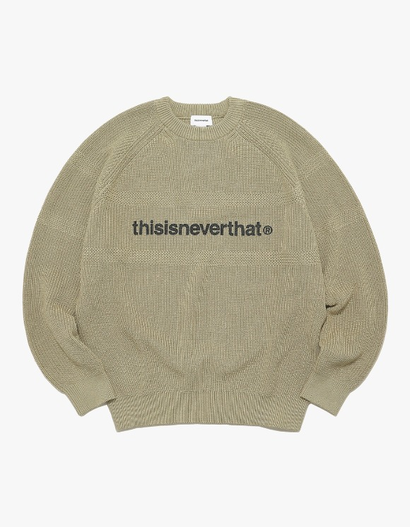 thisisneverthat T-Logo Knit Sweater - Beige | HEIGHTS. | International Store