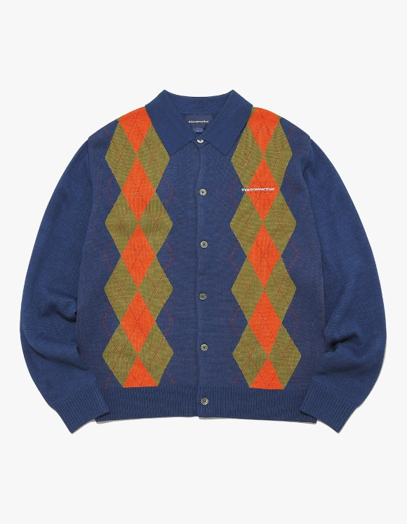 thisisneverthat Argyle Shirt Cardigan - Navy | HEIGHTS. | International Store