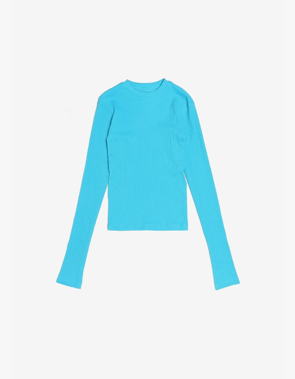 s/e/o Ribbed Slim Tee - Aqua Blue | HEIGHTS. | International Store