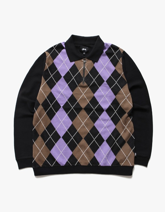 Stussy Argyle Zip LS Polo - Black | HEIGHTS. | International Store
