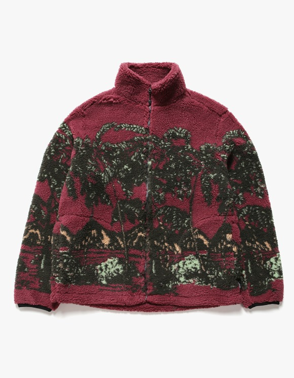 Stussy Hawaiian Jacquard Mock - Berry | HEIGHTS. | International Store