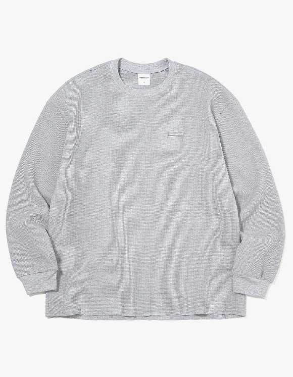 thisisneverthat T-Logo Waffle L/SL Top - Grey | HEIGHTS. | International Store