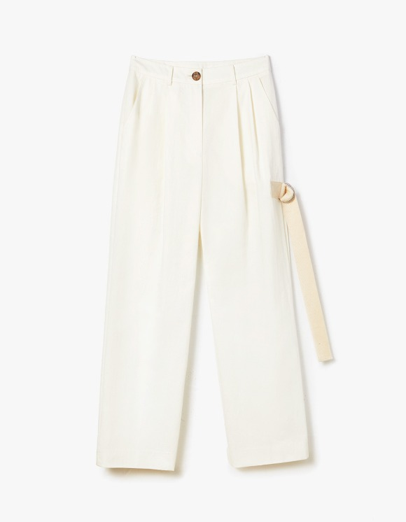 s/e/o Buckle Strap Pants - White | HEIGHTS. | International Store