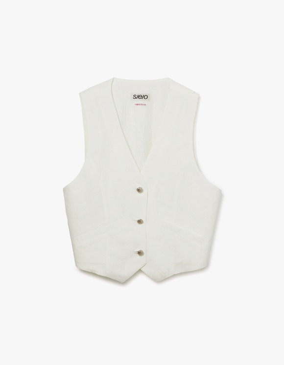 s/e/o CL Button Up Vest - White | HEIGHTS. | International Store