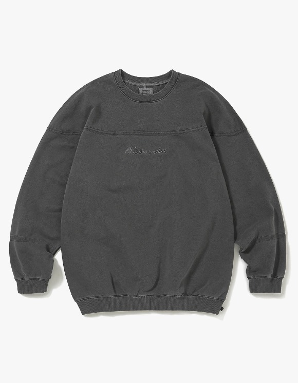 thisisneverthat Pigment Script Crewneck - Charcoal | HEIGHTS. | International Store