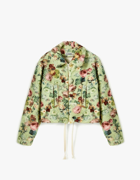 s/e/o Floral Multi Fur Jacket - Yellow Green | HEIGHTS. | International Store