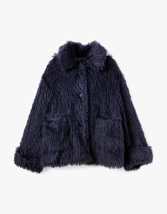 s/e/o Navy Sheep Fur Coat - Navy | HEIGHTS. | International Store