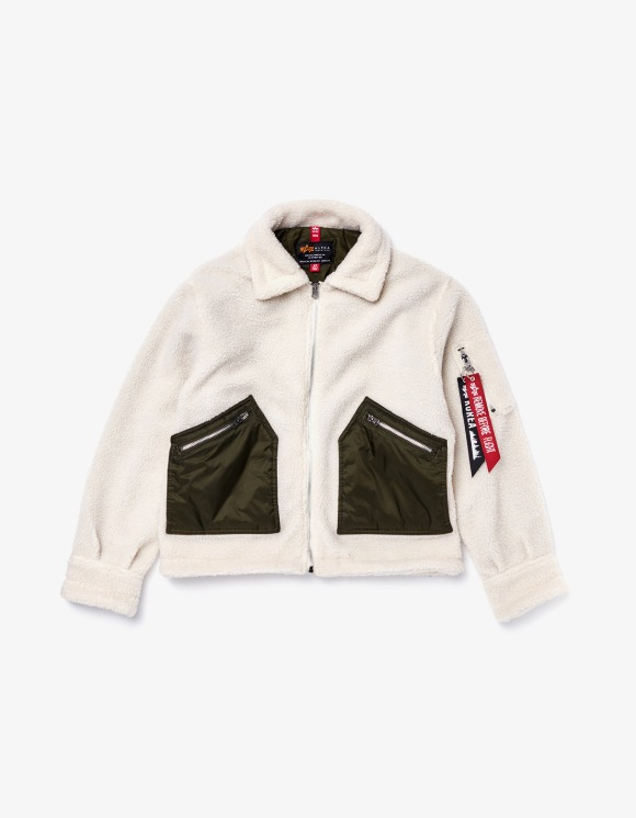 Alpha Industries Cropped Sherpa Utility Jacket W - Light Cream | HEIGHTS. | International Store