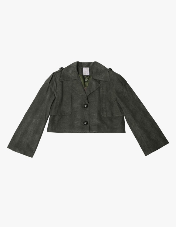 145Office Faux leather jacket - Olive | HEIGHTS. | International Store