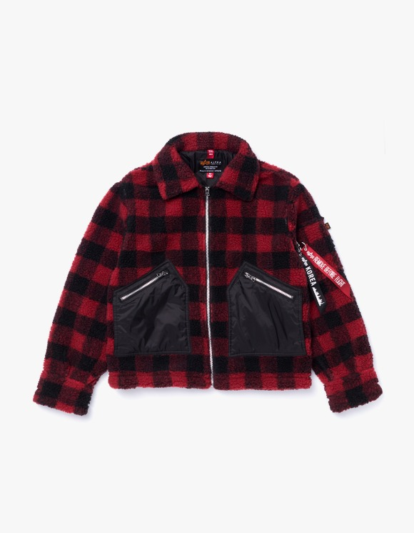 Alpha Industries Cropped Sherpa Utility Jacket W - Red Plaid | HEIGHTS. | International Store